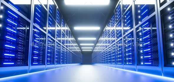 Server room interior in datacenter. 3D Render - Stock Photo - Images
