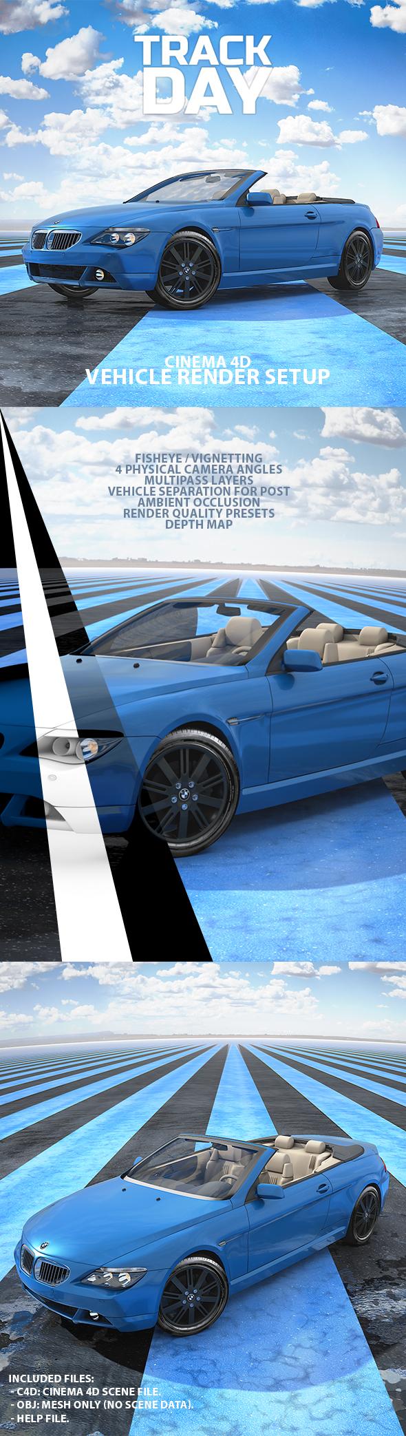 Track Day Car Render Setup for Cinema 4D