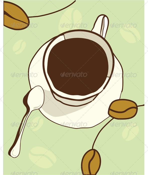 Cup of coffee with abstract background  - Food Objects