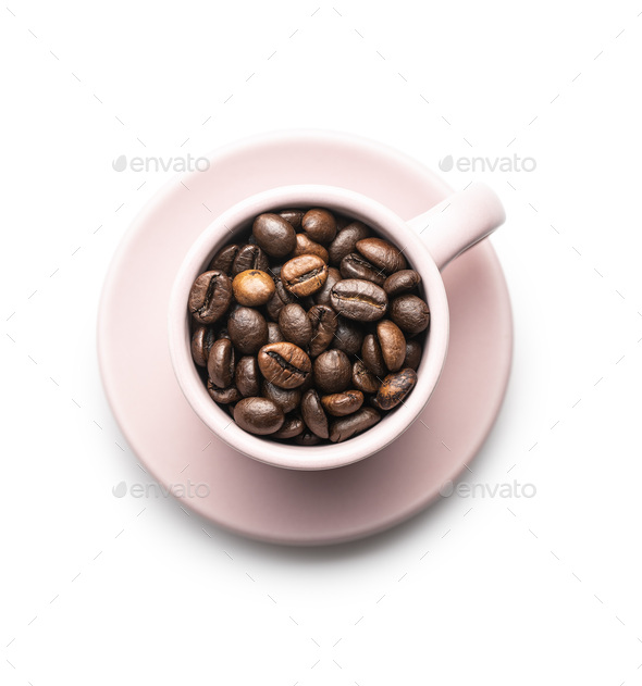 Roasted coffee beans in cup isolated on white background. - Stock Photo - Images