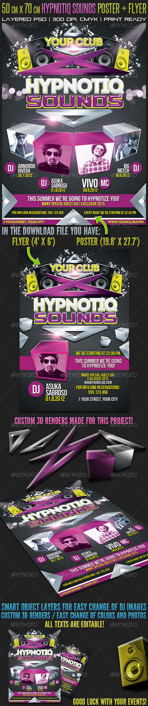 50 x 70 Hypnotiq Sounds Poster + Flyer - Clubs & Parties Events