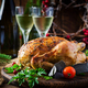 Baked turkey or chicken. The Christmas table is served with a turkey - PhotoDune Item for Sale