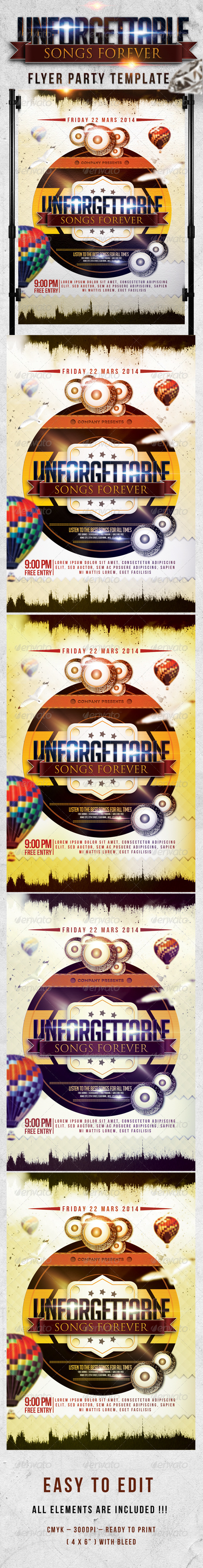 Unforgettable Song Forever Flyer Template  - Events Flyers