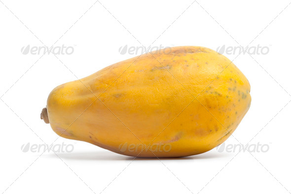 Whole single fresh papaya fruit - Stock Photo - Images