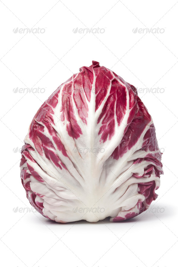Whole single fresh  Radicchio rosso lettuce - Stock Photo - Images