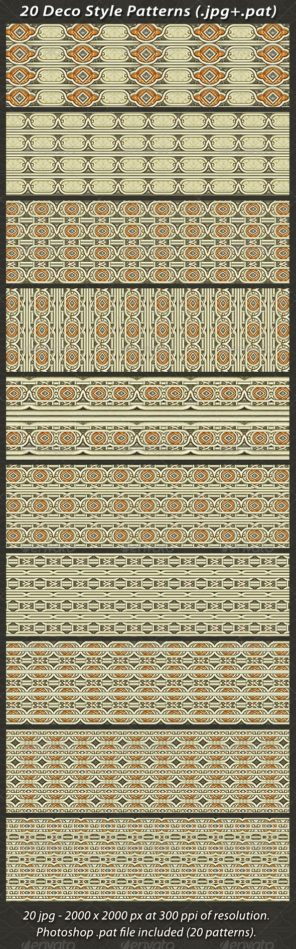 20 Deco Style Patterns - Patterns Backgrounds