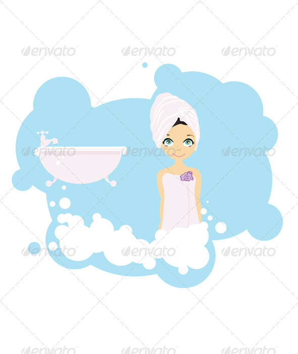 Vector beauty girl after shower  - People Characters