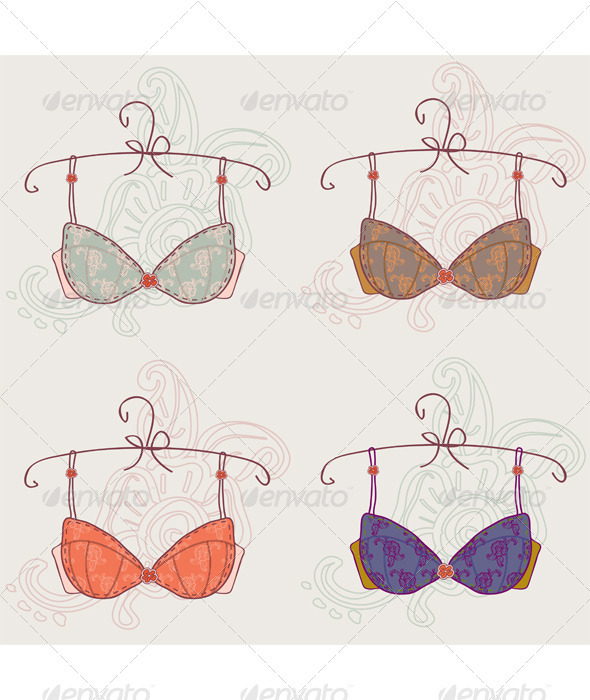 Illustration with bras set isolated  - Valentines Seasons/Holidays