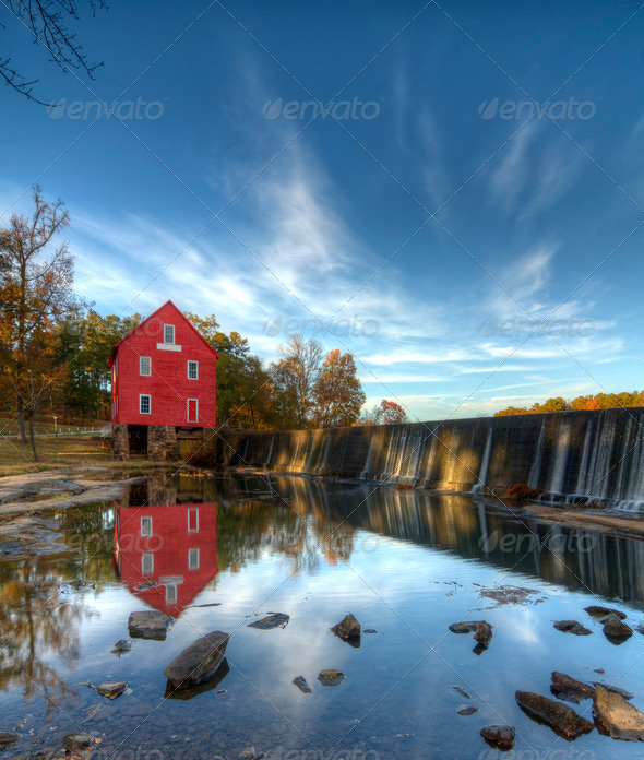Mill on a Dam - Stock Photo - Images