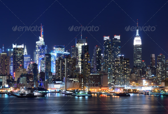 Lower Manhattan Skyline - Stock Photo - Images