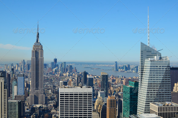 Aerial view of Manhattan - Stock Photo - Images