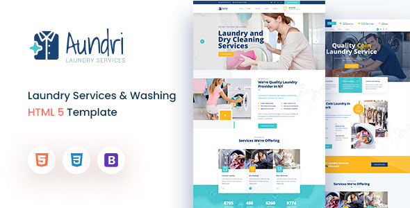 Aundri - Dry Cleaning Services HTML Template