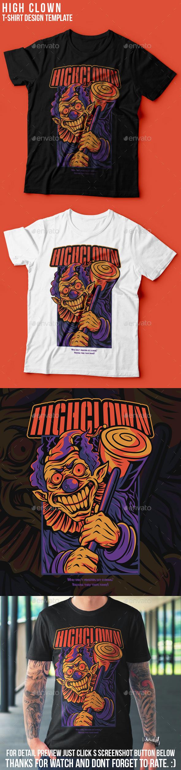 High Clown Halloween T-Shirt Design
