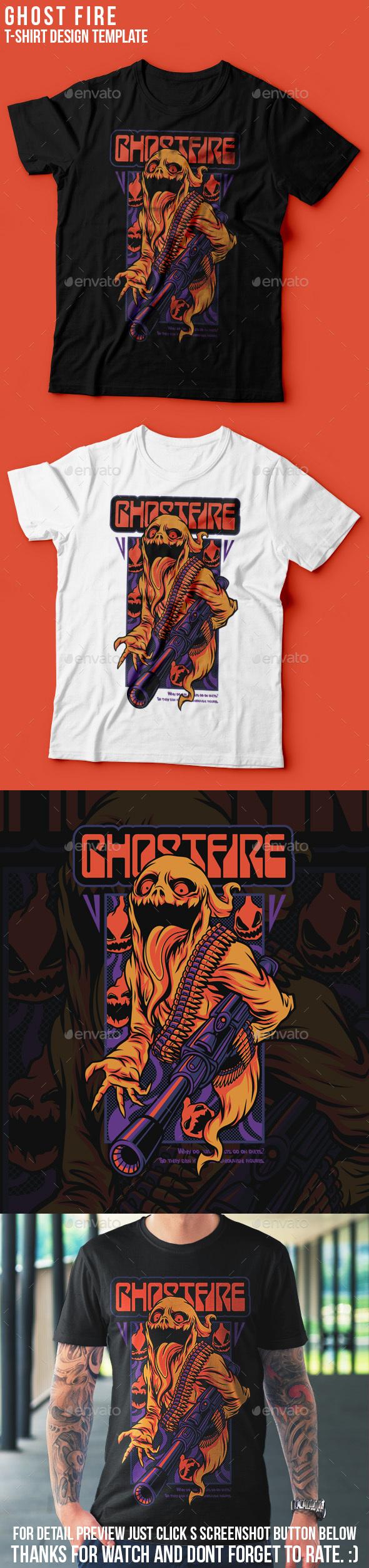 Ghost Fire Halloween T-Shirt Design