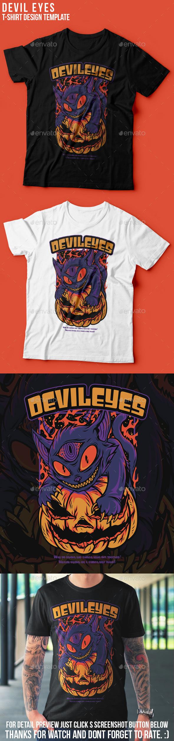 Devil Eyes Halloween T-Shirt Design