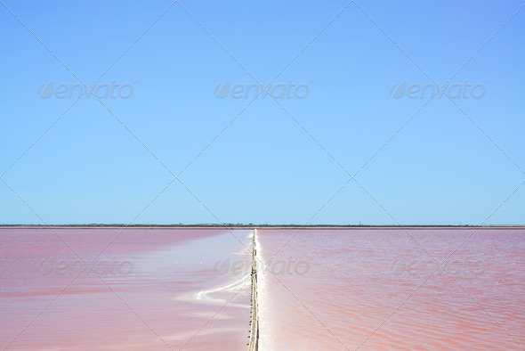 Camargue, Giraud pink salt flats landscape. Rhone, Provence, France. - Stock Photo - Images