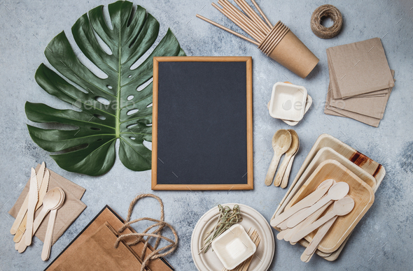 Recycling or eco-friendly tableware mock up, - Stock Photo - Images