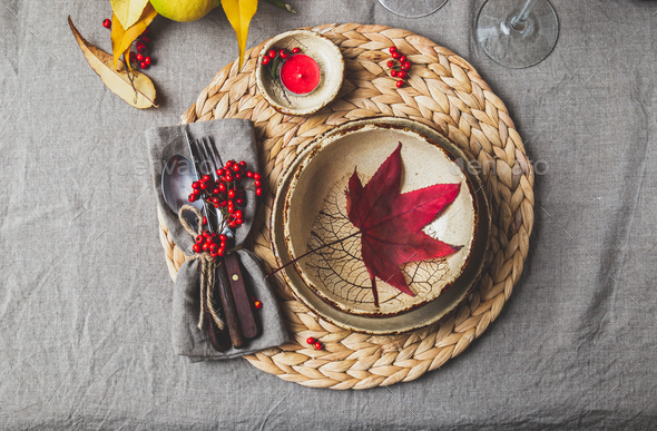 Autumn fall thankisgiving day table setting - Stock Photo - Images