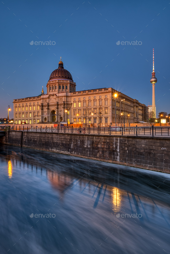 The reconstructed Berlin Palace with the Television Tower - Stock Photo - Images