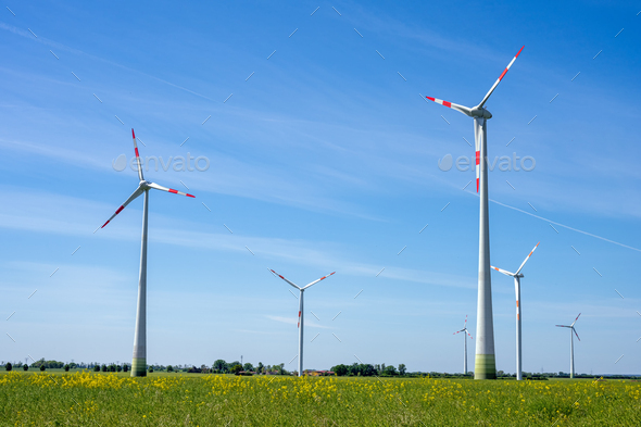 Wind turbines in a rural area - Stock Photo - Images