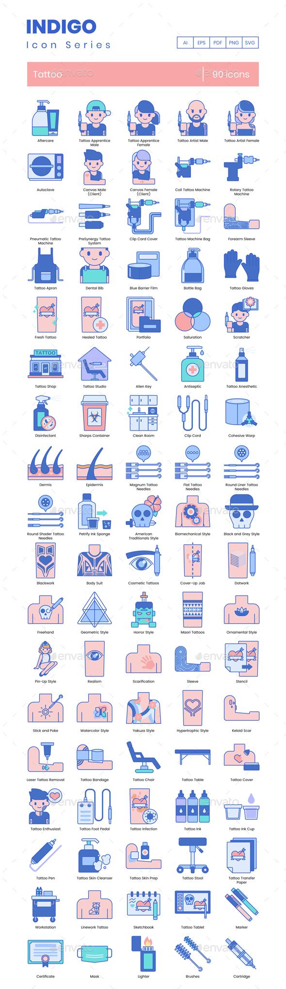 90 Tattoo Icons - Indigo Series