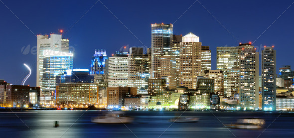 Downtown Boston Panorama - Stock Photo - Images