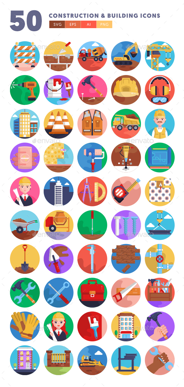 50 Construction & Building Icons