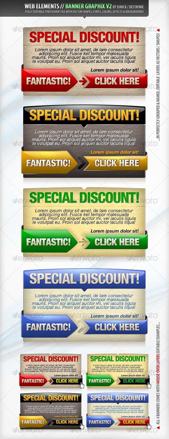 Web Elements - Banners Vector Graphics 2 PSD file - Web Elements
