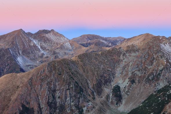 sunrise in Fagaras Mountains, Romania - Stock Photo - Images