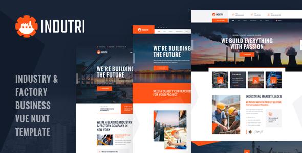Indutri – Vue Nuxt Industry & Factory Business Template