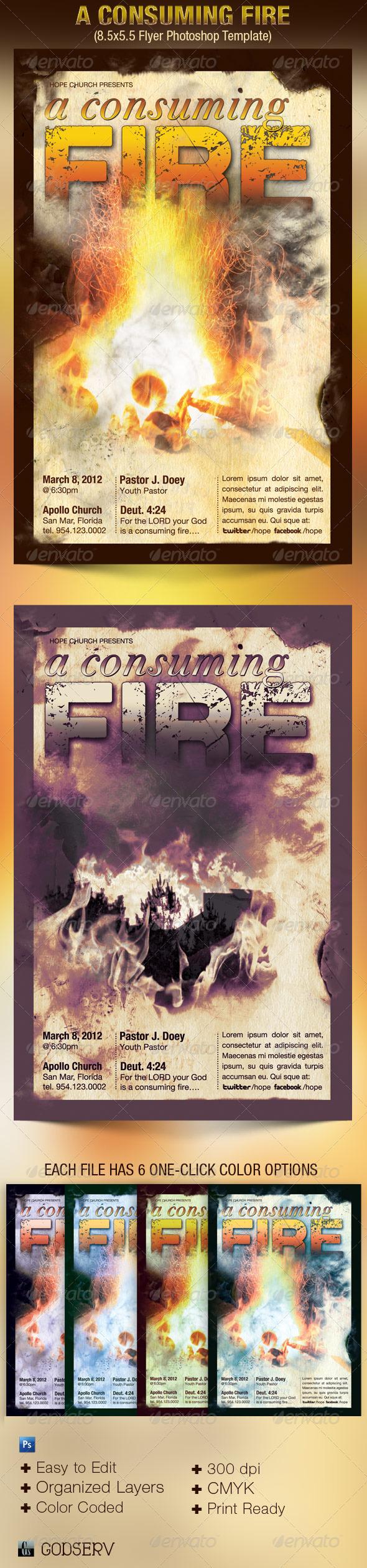 Consuming Fire Church Flyer Template - Church Flyers