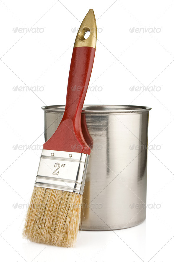 paint buckets and paintbrush isolated on whit - Stock Photo - Images