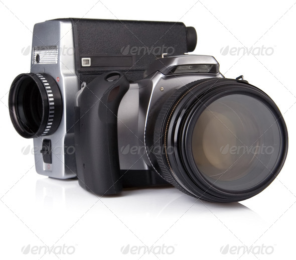 digital photo and film camera isolated on white - Stock Photo - Images