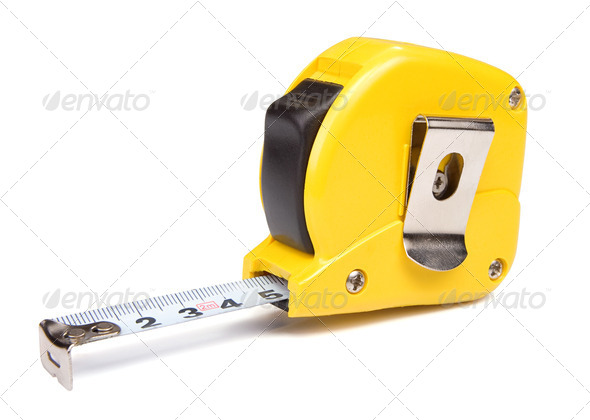 yellow tape measure isolated on white - Stock Photo - Images