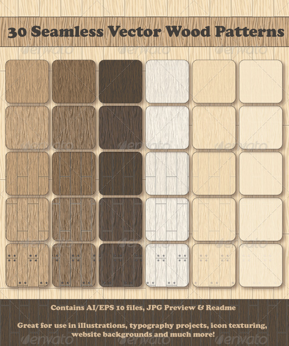 30 Seamless Vector Wood Patterns - Patterns Decorative