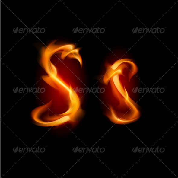 Fiery font. Letter S  - Decorative Symbols Decorative