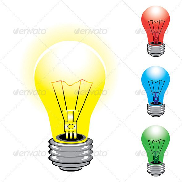 Set of colorful light bulbs  - Man-made Objects Objects