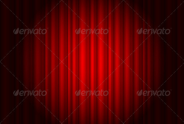 Curtain from the theatre with a spotlight - Decorative Vectors