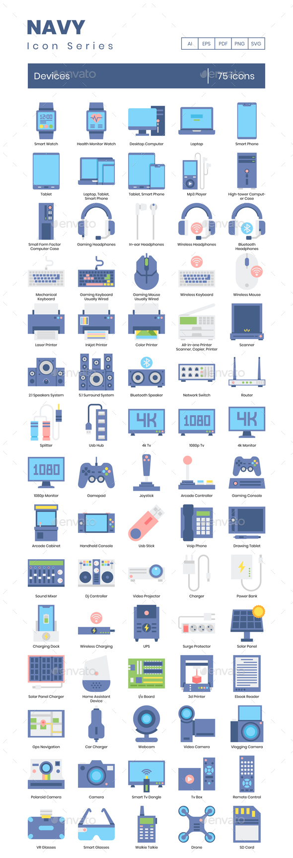 75 Devices Icons | Navy Series Series