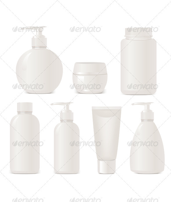 "White ""no name"" set of cosmetics - Health/Medicine Conceptual"