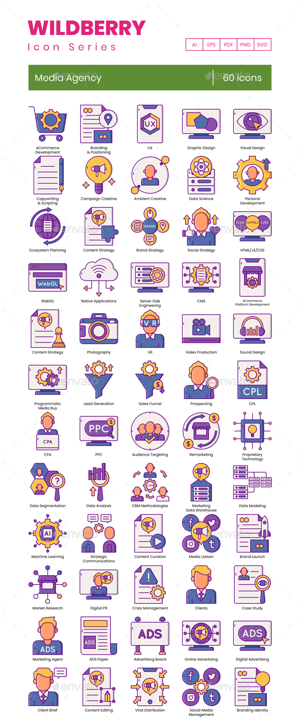 60 Media Agency Icons | Wildberry Series
