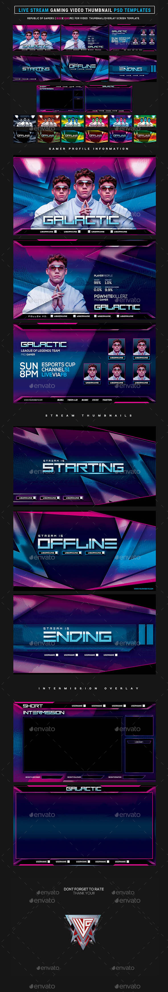 Galactic Live Stream Gaming Video Thumbnail / Overlay Photoshop Templates