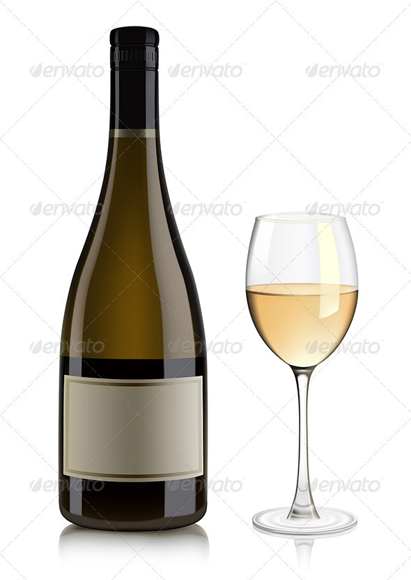 White wine bottle and glass  - Food Objects
