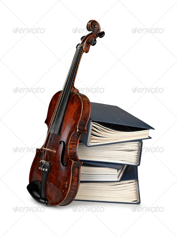 Old classical violin with  books - Stock Photo - Images