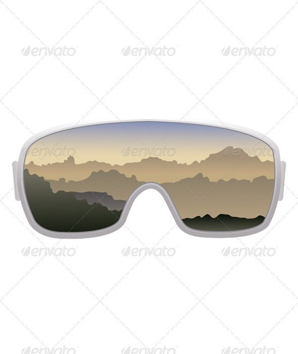 Ski goggles isolated on white background  - Man-made Objects Objects