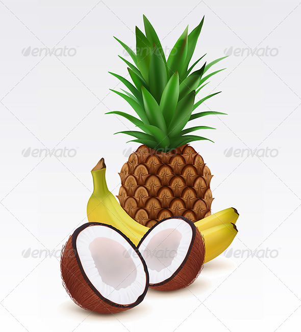 Fresh pineapple, bananas and coconut  - Food Objects