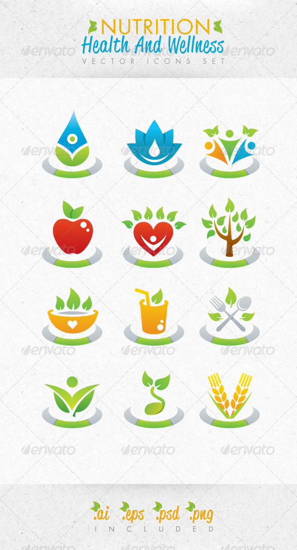 Nutrition Health And Wellness Vector Icons Set - Health/Medicine Conceptual