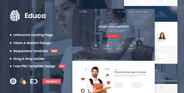 Educa - Distance Education & eLearning Unbounce Landing Page Template