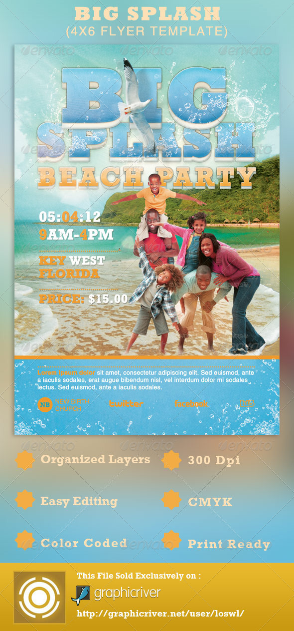 Big Splash Beach Party Flyer Template By Loswl  Graphicriver