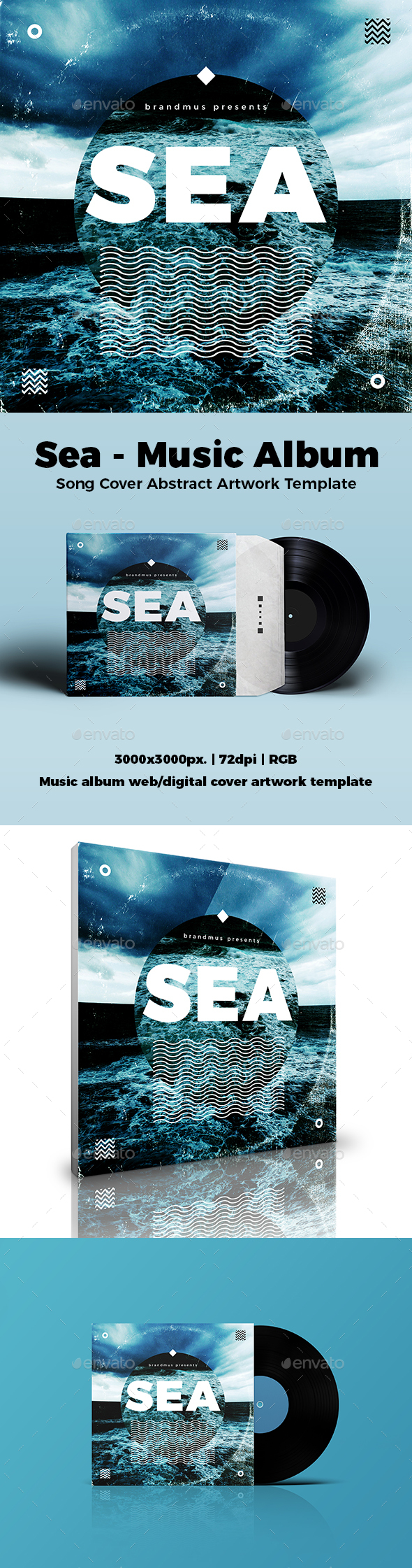 Sea - Music Album or Song Cover Abstract Artwork Template